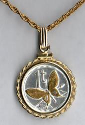 Gold and Silver on Silver Papa New Guinea 1 Toea Butterfly Necklace