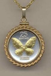 Gold on Silver Philippines 25 Sentimos Butterfly Necklace