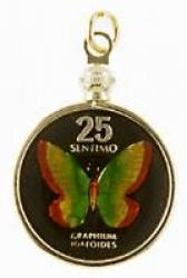 Hand Painted Philippines 25 Centimos Butterfly Pendant