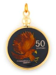Hand Painted Philippines 50 Centimos Eagle Pendant
