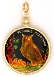 Hand Painted Poland 2 Zloty Owl Pendant