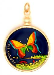 Hand Painted Poland 2 Zloty Butterfly Pendant