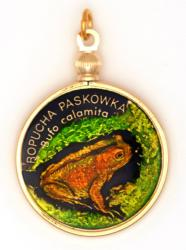 Hand Painted Poland 2 Zloty Frog Pendant