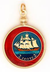 Hand Painted Poland 2 Zloty Ship Pendant