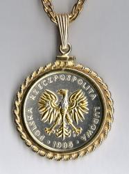 Gold and Silver on Silver Poland 5 Zlotych Eagle Necklace