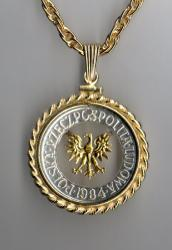 Gold on Silver Poland 5 Zlotych Eagle Cut Coin Necklace