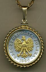 Gold on Silver Poland 50 Zlotych Eagle with Crown Necklace