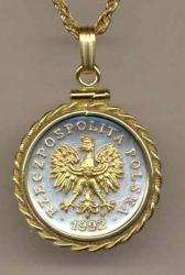 Gold on Silver Poland 20 Groszy Eagle Necklace
