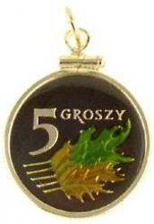 Hand Painted Poland 5 Groszy Leaf Pendant