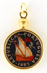 Hand Painted Portugal 10 Escudos Ship Pendant