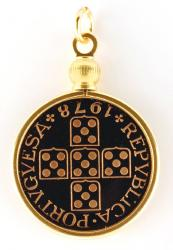 Hand Painted Portugal 20 Centavos Cross Pendant