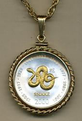 Gold on Silver Somalia 10 Shillings Snake   Necklace
