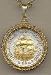 Gold on Silver South Africa 1 Penny Sailing Ship Necklace