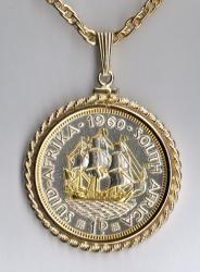 Gold and Silver on Silver South Africa 1 Penny Sailing Ship Necklace