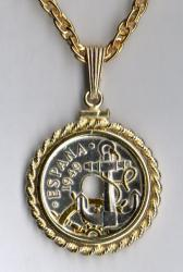 Gold and Silver on Silver Spain 50 Centimes Anchor and Wheel Necklace