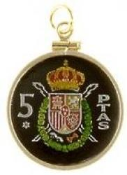 Hand Painted Spain 5 Pesetas Crown and Shield Pendant