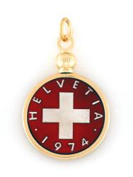 Hand Painted Switzerland 1 Rappen Swiss Cross Pendant