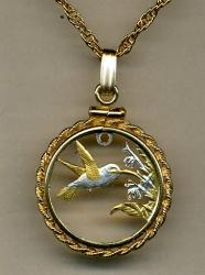 Gold on Silver Trinidad and Tobago 1 Cent Hummingbird Cut Coin Necklace