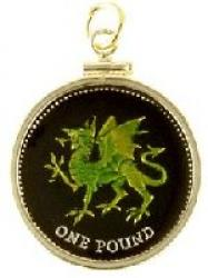 Hand Painted Wales 1 Pound Green Dragon Pendant