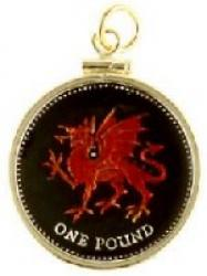 Hand Painted Wales 1 Pound Red Dragon Pendant