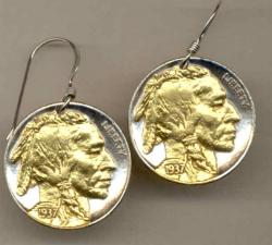 Gold on Silver Buffalo Nickel (Obv) Earrings