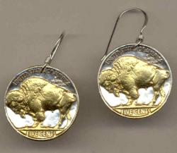Gold on Silver Buffalo Nickel (Rev) Earrings