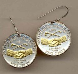 Gold on Silver Jefferson Nickel Peace Medal Earrings