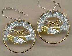 Gold on Silver Jefferson Nickel Peace Medal Cut Coin Earrings