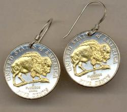 Gold on Silver Jefferson Nickel Bison Earrings