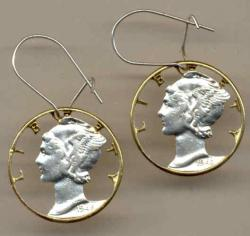 Gold on Silver Mercury Dime Cut Coin Earrings