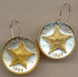 Gold on Silver Bahamas 1 Cent Starfish Earrings