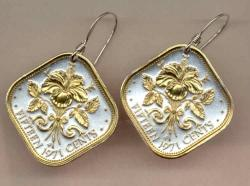Gold on Silver Bahamas 15 Cent Hibiscus Earrings