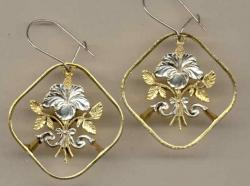Gold on Silver Bahamas 15 Cent Hibiscus Cut Coin Earrings