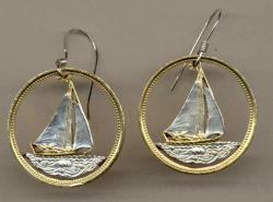 Gold on Silver Bahamas 25 Cent Sail Boat Cut Coin Earrings