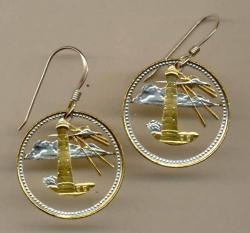 Gold on Silver Barbados 5 Cent Light House Cut Coin Earrings