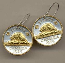 Gold on Silver Canada 5 Cent Beaver Earrings