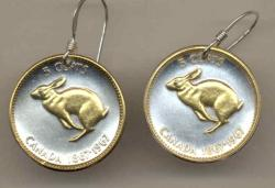 Gold on Silver Canada 5 Cent Rabbit Earrings