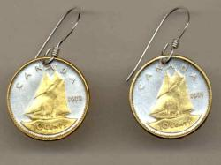 Gold on Silver Canada 10 Cent Bluenose Earrings
