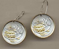 Gold on Silver Cayman Islands 10 Cent Turtle Earrings
