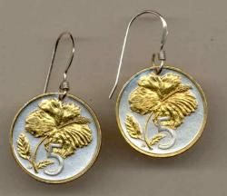 Gold on Silver Cook Islands 5 Cent Hibiscus Earrings