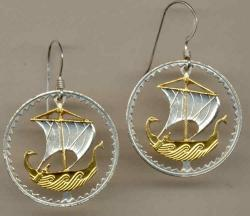 Gold on Silver Cyprus 5 Mils Viking Ship Cut Coin Earrings