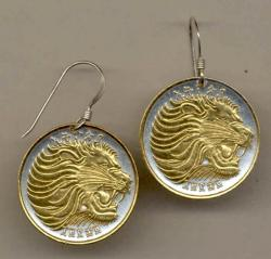 Gold on Silver Ethiopia 25 Cent Lion Earrings