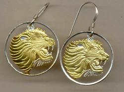 Gold on Silver Ethiopia 25 Cent Lion Cut Coin Earrings