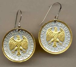 Gold on Silver Germany 1 Mark Eagle Earrings