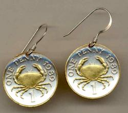 Gold on Silver Guernsey 1 Penny Crab Earrings