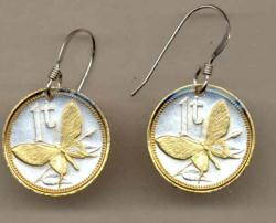 Gold on Silver Papa New Guinea 1 Toea Butterfly Earrings