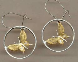 Gold on Silver Papa New Guinea 1 Toea Butterfly Cut Coin Earrings