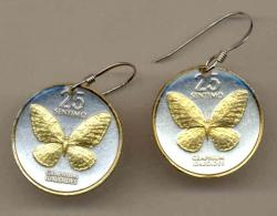 Gold on Silver Philippines 25 Sentimos Butterfly Earrings