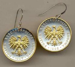 Gold on Silver Poland 5 Zlotych Eagle Earrings
