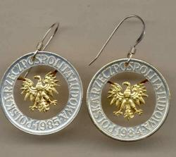 Gold on Silver Poland 5 Zlotych Eagle Cut Coin Earrings